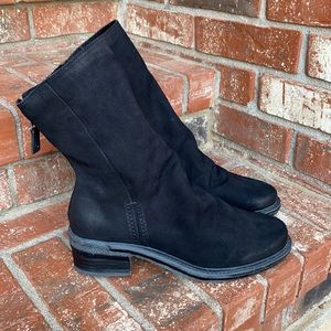 OTBT Fernweh Mid Shaft Slouchy Black Leather Boot